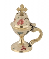 Byzantine Brass Home Censer with Enamel Coating - H65
