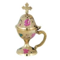 Byzantine Brass Home Censer with Enamel Coating - H69