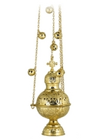 Censer Russian Design Perforated Gold Plated