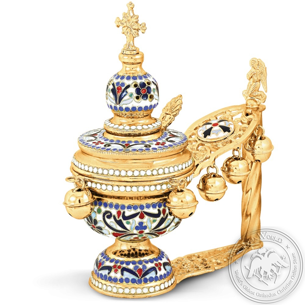 Hand Censer Enamel Gold Plated