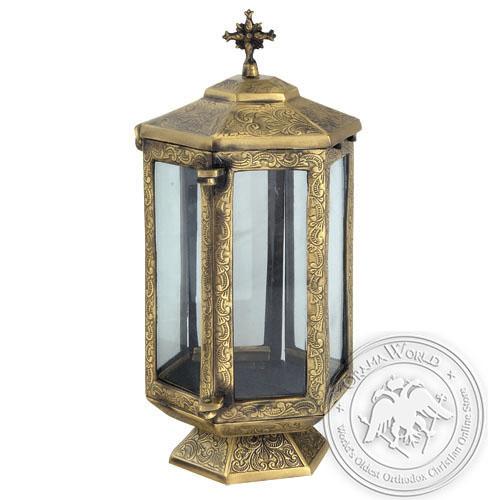 Byzantine Brass Cemetery Oil Lamp - H141