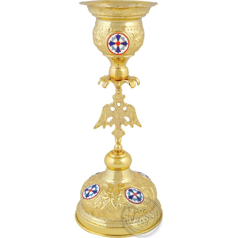 Ecclesiastical Vigil Oil Candle with Enamel and Two-Headed Eagle - 0612