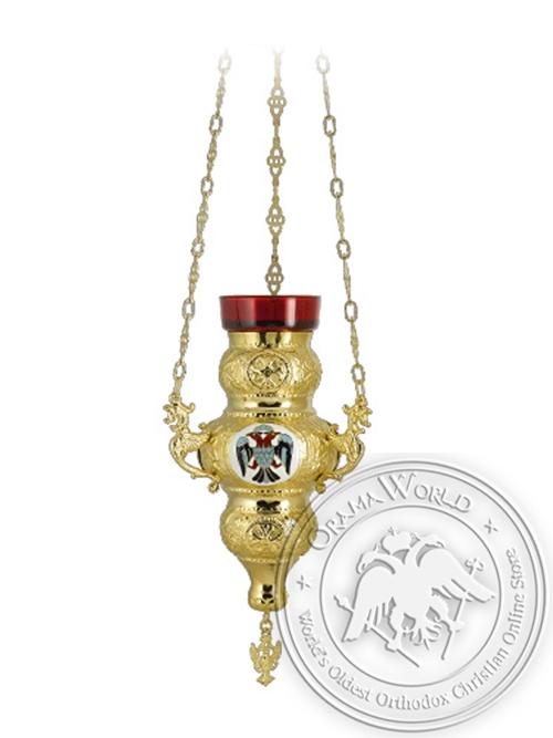 Vigil Lamp Corfu Design No2 Enamel Eagle Gold Plated