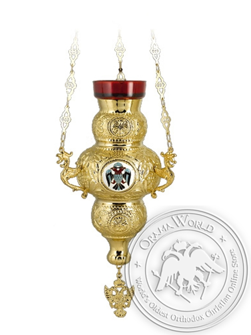 Vigil Lamp Corfu Design No4 Enamel Eagle Gold Plated