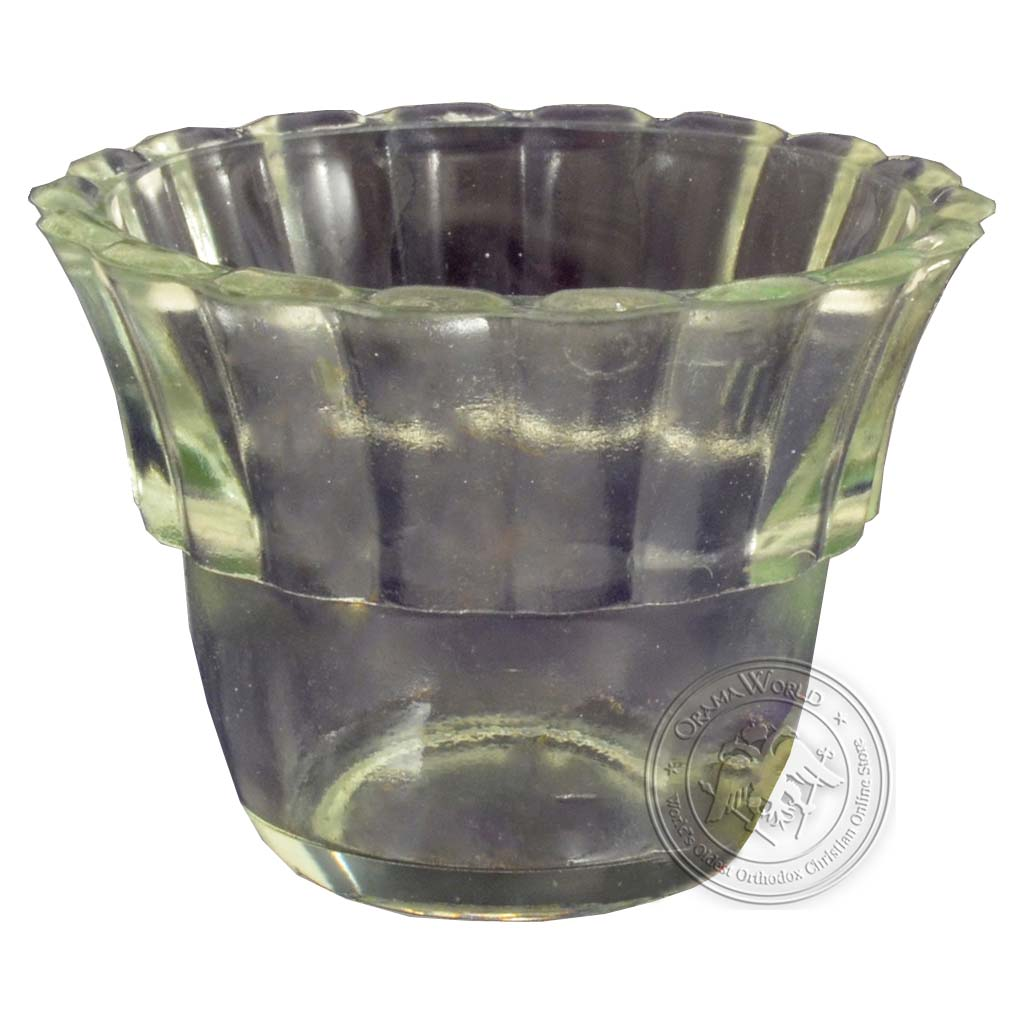 Oil Candle Glass Replacement Cup Flower B Clear