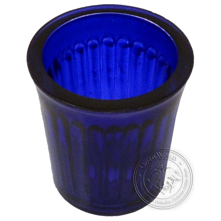 Oil Candle Glass Replacement Cup Inlined Natural Blue