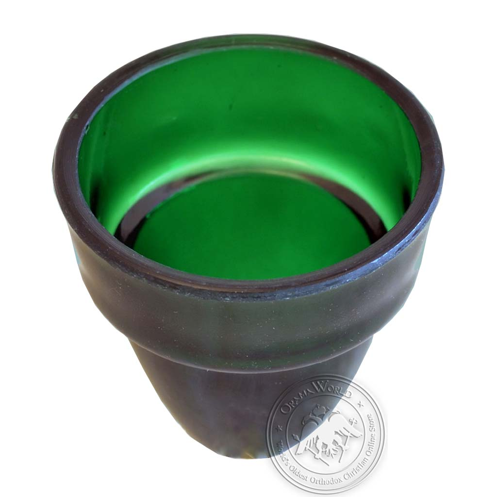 Oil Candle Glass Replacement Cup Natural Green Small