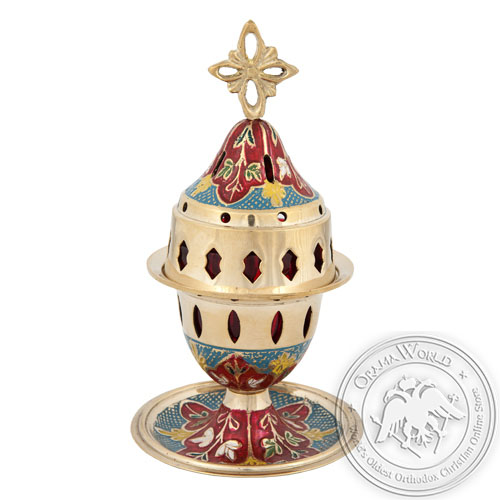 Byzantine Brass Home Oil Lamp With Enamel Coating Varius Colors - H135