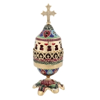 Byzantine Brass Home Oil Lamp With Enamel Coating Various Colors - H136