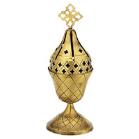 Byzantine Brass Cemetery Oil Lamp - H130