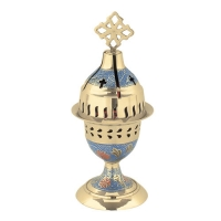 Byzantine Brass Home Oil Lamp With Enamel Coating in Blue Color - H134