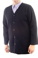 Men's Hieratical Wool Jacket with Normal Knitting and V-Neck