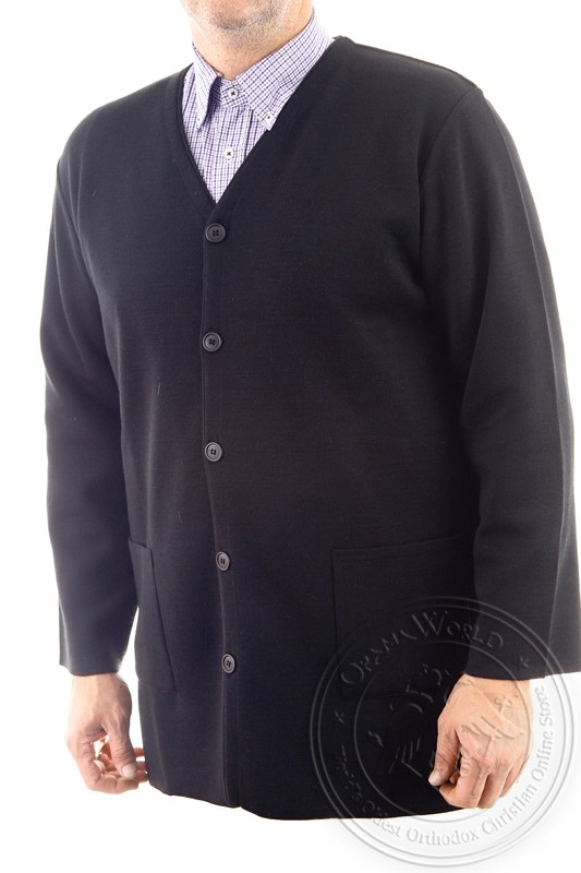Men's Hieratical Wool Jacket with Thick Knitting and V-Neck