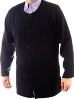Men's Hieratical Wool Jacket with Normal Knitting and Round Neck