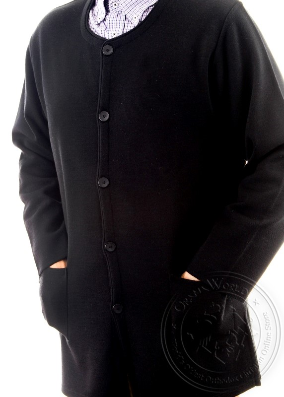 Women's Hieratical Wool Jacket with Thick Knitting and Round Neck