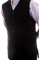 Men's Hieratical Wool Vest with Normal Knitting and V-Neck