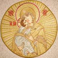 Mother of God with Background Embroidered - Hieratical Pole
