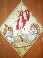 The Resurrection with Embroidered Background - Hieratical kneepiece