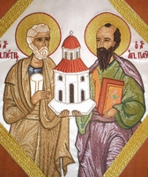Saints Peter & Paul with Embroidered Background - Hieratical kneepiece