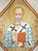 Saint Nicholas Bishop of Myra with Radial Background - Hieratical kneepiece