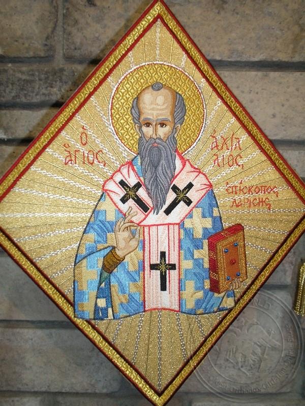 Saint Achillios Bishop of Larissa with Radial Background - Hieratical kneepiece
