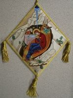 The Birth of Christ with Embroidered Background - Hieratical kneepiece