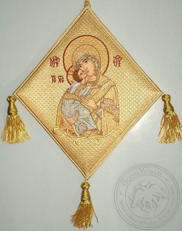 Mother of God with Embroidered Background - Hieratical kneepiece - 11330