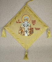 Saint Amphilochios Bishop of Iconium with Embroidered Background - Hieratical kneepiece