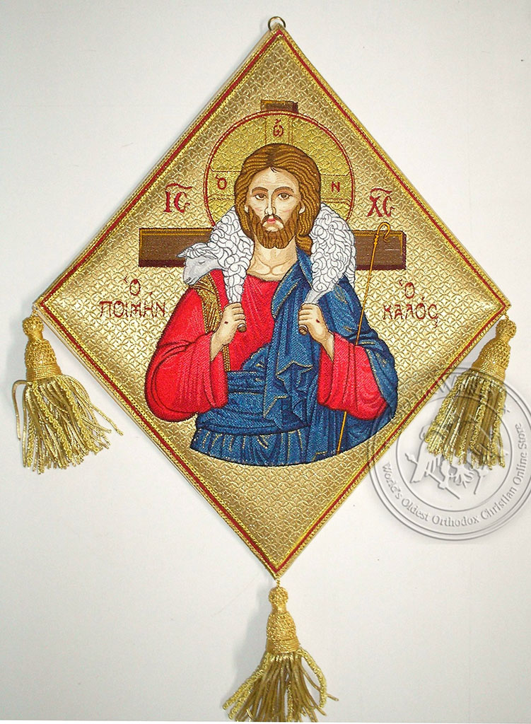 The Good Shepherd with Embroidered Background - Hieratical kneepiece