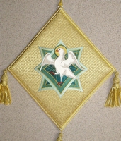 The Holy Spirit with Embroidered Background - Hieratical kneepiece