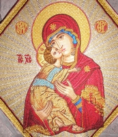 Mother of God with Radial Background - Hieratical kneepiece