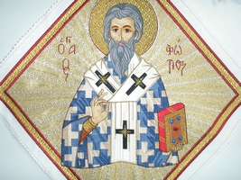 Saint Photios the Great with Radial Background - Hieratical kneepiece