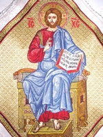 Jesus Enthroned with Embroidered Background - Hieratical kneepiece