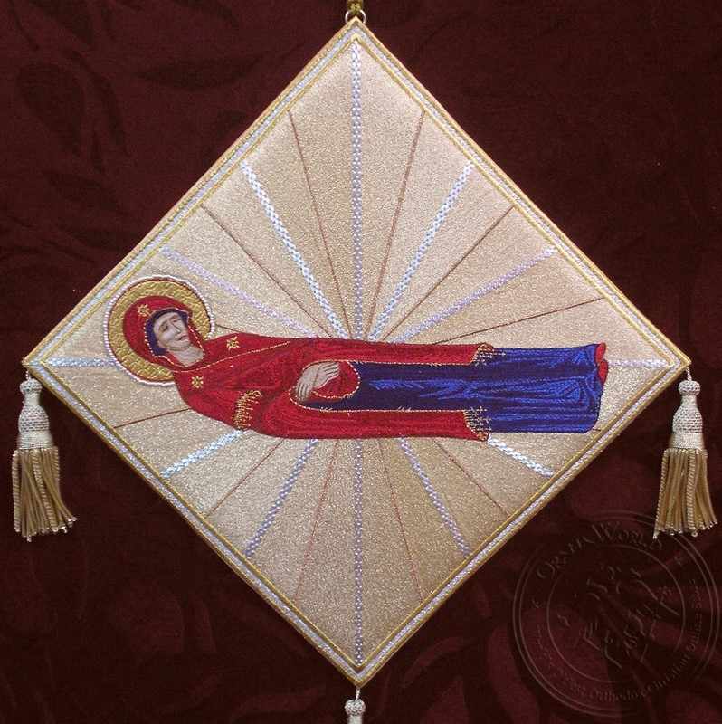 The Dormition of the Mother of God with Radial Background - Hieratical kneepiece