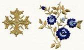 Vestment Gold Thread Cross Multicoloured Flower