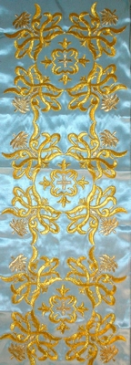 Golden Crosses with Flowers in Light Blue Color - Hieratical Galloon