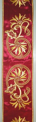 Golden Flowers in Red Color - Hieratical Galloon