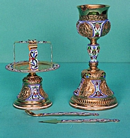 Chalice Set Russian Design Engraved with Enamel