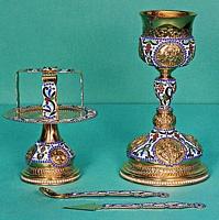 Chalice Set Byzantine Design 3 Engraved with Enamel