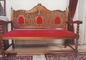 Church Couch Woodcarved