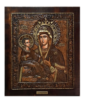 Virgin Mary Tricherousa - Wood Carved Icon